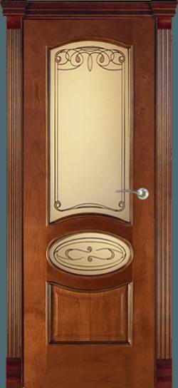 Дверь Алина витраж Мальта (Красное дерево)